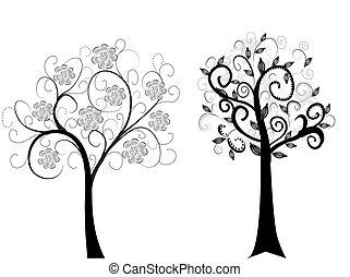 branca, dois, árvores, isolado
