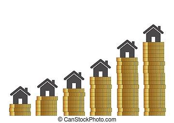 branca, dourado, preços, fundo, moedas, alto, propriedade