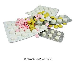 branca, e, colorido, droga, pílulas, em, bolhas, isolado, sobre, branca