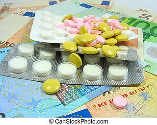 branca, e, colorido, droga, pílulas, em, bolhas, sobre, dinheiro