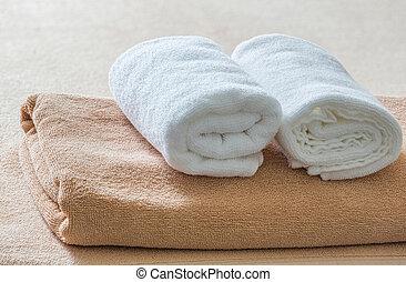 branca, e, marrom, toalha