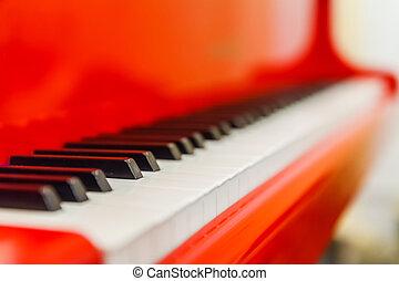 branca, e, pretas, teclas, de, vermelho, piano