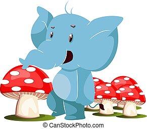 branca, elefante, cogumelos, ilustração, vetorial, experiência.