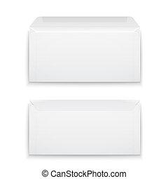branca, em branco, envelopes, experiência.