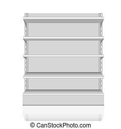 branca, em branco, vazio, mostruário, monitores, com, varejo, prateleiras, vista dianteira, 3d, produtos, branco, fundo, isolated., pronto, para, seu, design.