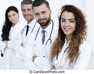 branca, equipe, fundo, médico