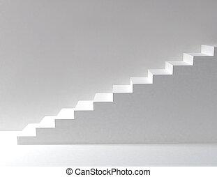 branca, escadas