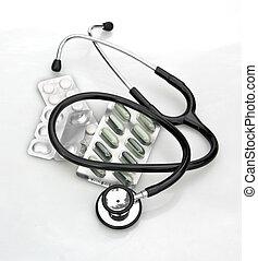 branca, estetoscópio, pílulas
