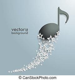 branca, estrelas, pó, pretas, nota música