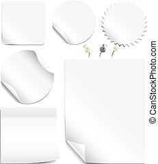 branca, etiquetas, páginas