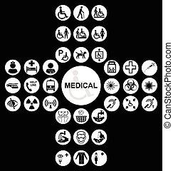 branca, exame médico saúde, cuidado, ícone, cobrança