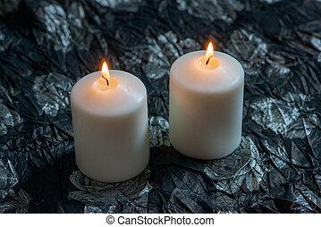 branca, experiência., dois, velas, iluminado, escuro