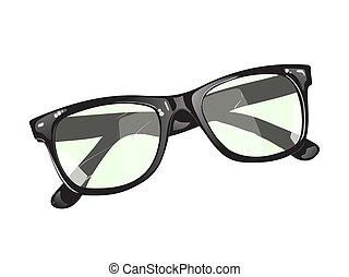 branca, experiência preta, óculos
