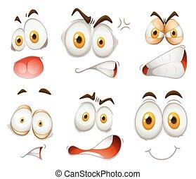 branca, expressão, facial