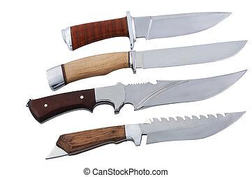 branca, facas, isolado, fundo