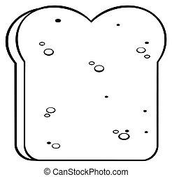branca, fatia, pretas, caricatura, pão
