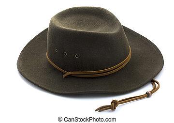 branca, feltro, chapéu, fundo, boiadeiro