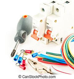 branca, ferramentas, elétrico, fundo