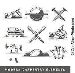 branca, ferramentas, fundo, modernos, isolado, carpintaria