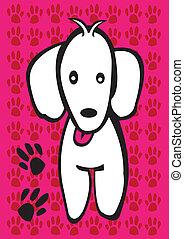 branca, filhote cachorro, com, cão, paw cópias