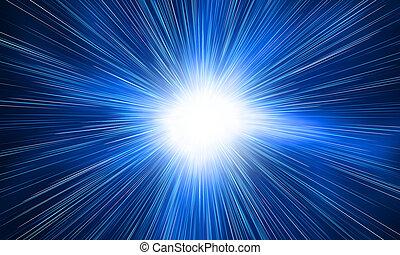 branca, flash, ligado, um, azul, fundos
