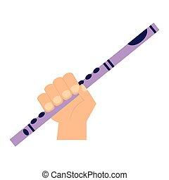 branca, flauta, fundo, mão