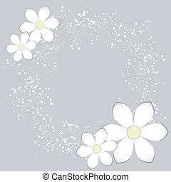 branca, flor papel, cartão, desenho