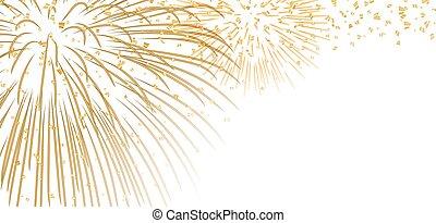branca, fogo artifício, ouro, fundo