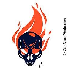branca, fogo, tattoo., emblema, clássicas, vetorial, crista, ou, braços, sinal, estilo, logotipo, bando, cabeça, agasalho, isolado, vindima, cranio, osso, criminalidade