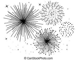 branca, fogos artifício, pretas