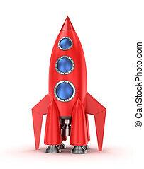 branca, fundo, isolado, foguete, vermelho