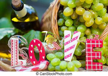 branca, garrafa, uvas, vinho