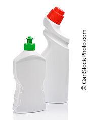 branca, garrafas, dois, isolado