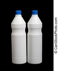 branca, garrafas, dois, plástico