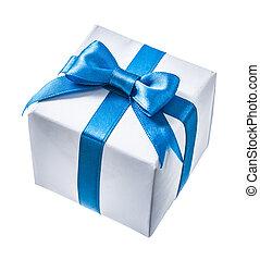 branca, gif, caixa, com, fita azul, isolado, branco