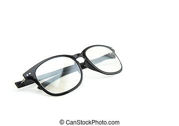 branca, glasses., isolado, fundo