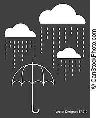 branca, gota, guarda-chuva, nuvem, chuva
