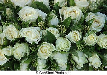 branca, grupo, decorações, rosas, casório