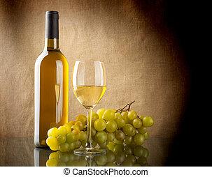 branca, grupo, garrafa, uvas, vinho
