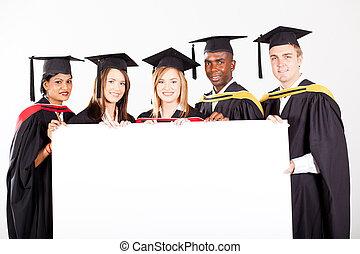 branca, grupo, tábua, diplomados