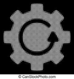 branca, halftone, engrenagem, rotação, ícone