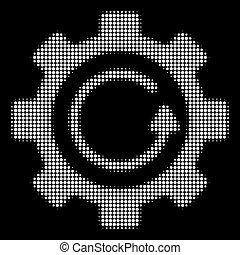 branca, halftone, engrenagem, rotação, direção, ícone