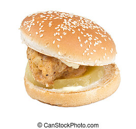 branca, hamburger, isolado