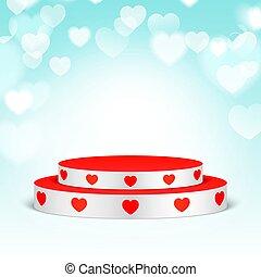 branca, hearts., pedestal, vermelho