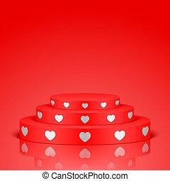 branca, hearts., romanticos, vermelho, cena