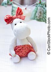branca, hipopótamo, brinquedo, com, têxtil, e, cosendo, acessório