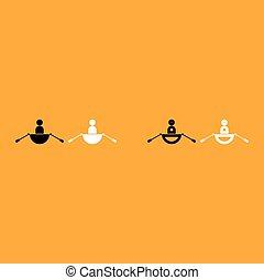 branca, homem, aquilo, bote, ícone
