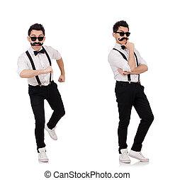branca, homem, bigode, jovem, isolado
