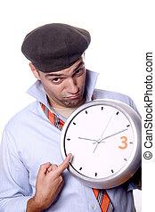 branca, homem, fundo, negócio, relógio