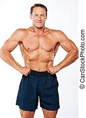 branca, homem, isolado, muscular, bonito